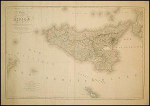 Carte Physique et Routiere de la Sicile par le cartographe M.V. Turgis, 1860.