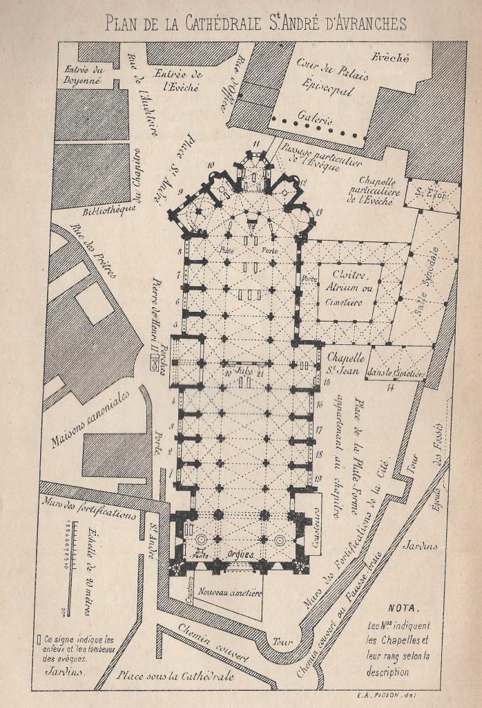 Plan de la cathédrale Saint-André d'Avranches.